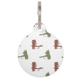 Fly Fishing Lures Pattern Pet ID Tag