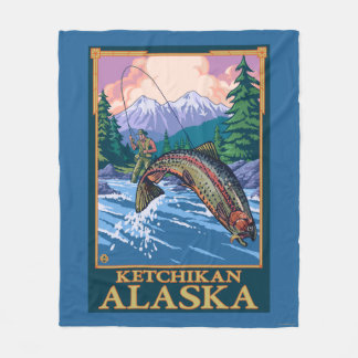 Fly Fishing Scene - Ketchikan, Alaska Fleece Blanket