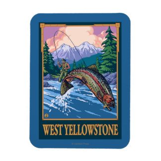 Fly Fishing Scene - West Yellowstone Magnet