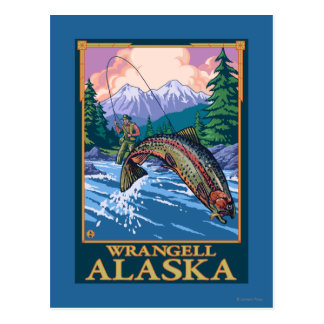Fly Fishing Scene - Wrangell, Alaska Postcard