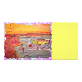 fly fishing sunset art photo cards