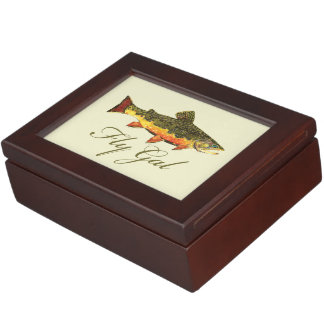 Fly Fishing Woman Keepsake Boxes