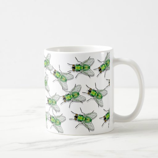 Fly flies on mug coffee tea