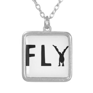 Fly funny text and human design silver plated necklace