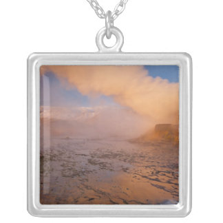 Fly Geyser in the Black Rock Desert Square Pendant Necklace