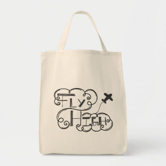 Fly High Black Grey Grocery Tote Bag