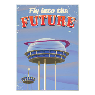 Fly into the Future vintage sci-fi poster Card