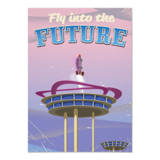 Fly into the Future vintage sci-fi Rocket poster 11 Cm X 16 Cm Invitation Card