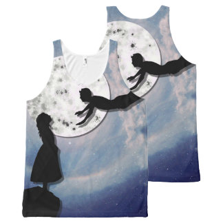 fly me to the moon paper cut universe All-Over print singlet