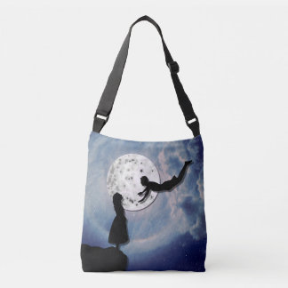 fly me to the moon paper cut universe crossbody bag