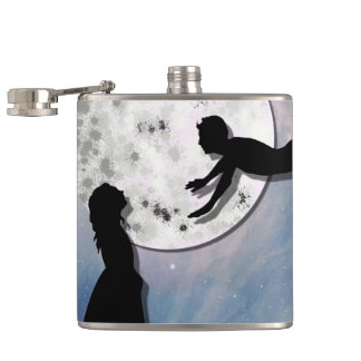 fly me to the moon paper cut universe hip flask