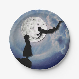 fly me to the moon paper cut universe paper plate