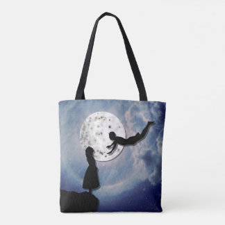 fly me to the moon paper cut universe tote bag