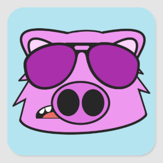Fly Pig Square Sticker