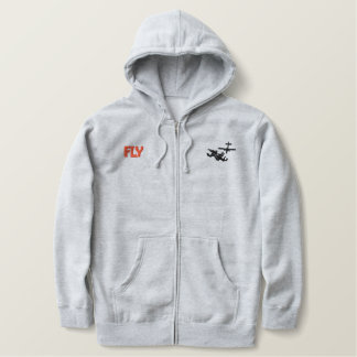 Fly Skydiver Embroidered Zipped Hoodie