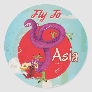 Fly to Asia Vintage Travel Poster Round Sticker