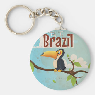 Fly to Brazil vintage Vacation Poster Basic Round Button Key Ring