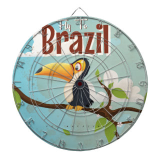 Fly to Brazil vintage Vacation Poster Dart Boards