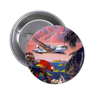 Fly To Caribbean Vintage Buttons