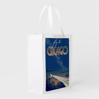 Fly to Chicago Reusable Grocery Bag
