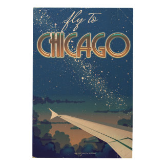 Fly to Chicago Wood Print