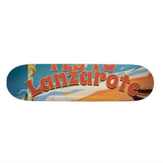Fly to Lanzarote Vintage Poster Skate Deck