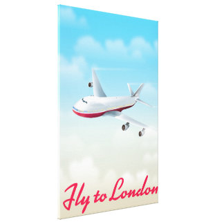 Fly To London Plane poster Canvas Print