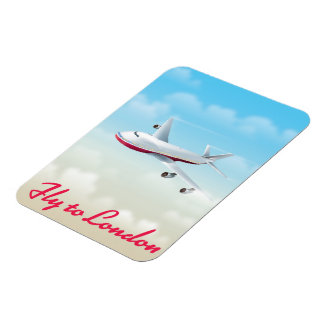 Fly To London Plane poster Magnet