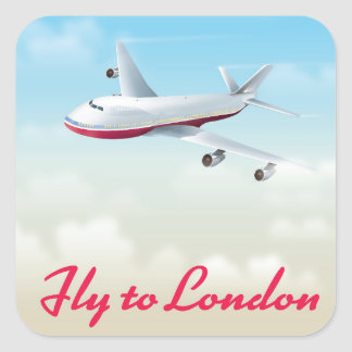 Fly To London Plane poster Square Sticker