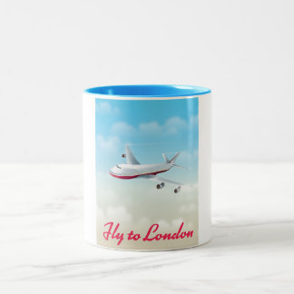 Fly To London Plane poster Two-Tone Coffee Mug