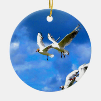 Fly to love parasise together birds round ceramic decoration
