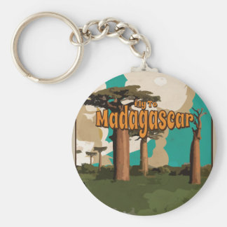 Fly to Madagascar Vintage Vacation Poster Basic Round Button Key Ring
