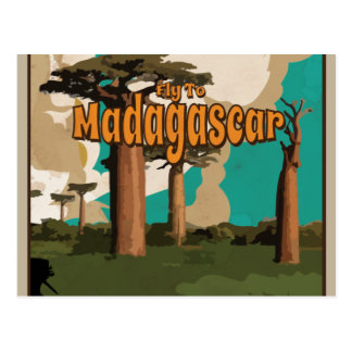 Fly to Madagascar Vintage Vacation Poster Postcards