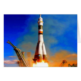 Fly to success rocket take off soyuz space travel card