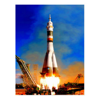Fly to success rocket take off soyuz space travel postcard