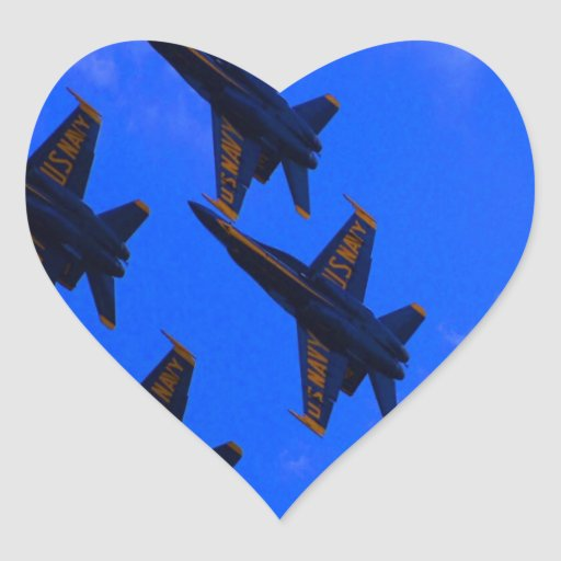 Fly to success together navy sky  jet airplanes heart stickers