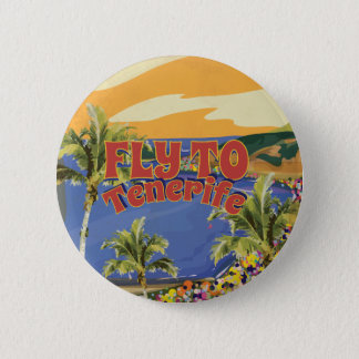 Fly To Tenerife Vintage Travel Poster 6 Cm Round Badge