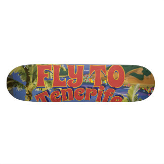 Fly To Tenerife Vintage Travel Poster Skate Deck