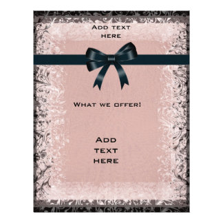 Flyer Antique Old Paper Pink Black Bows Template