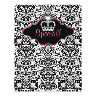 Flyer Salon Floral Damask Black White Pink Crown