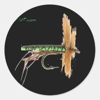 Flyfishing bait, tackle, lure, round sticker