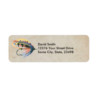 FlyFishing Lure Art Salmon Fly Lure Return Address Label