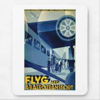 Flyg A-B Aero Transport Vintage Travel Ad Mouse Pad