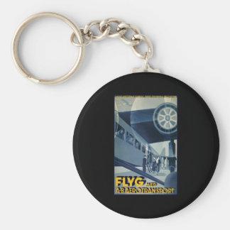 Flyg Aerotransport Airline Airplane Aeroplane Basic Round Button Key Ring