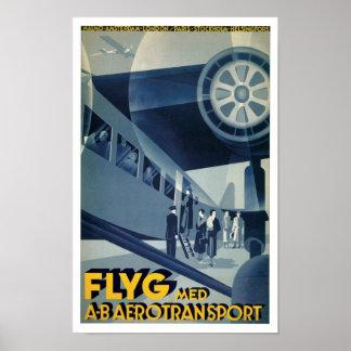 Flyg Med A-B Aerotransport Poster