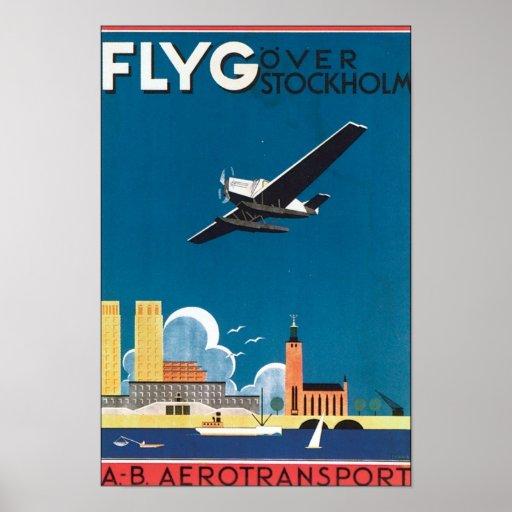 Flyg Over Stockholm, AB Aerotransport Poster