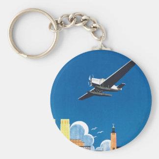 Flyg Over Stockholm Basic Round Button Key Ring