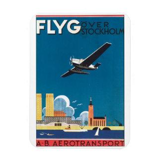 FlyG Over Stockholm Vintage Travel Poster Magnet