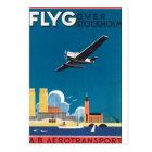 FlyG Over Stockholm Vintage Travel Poster Postcard