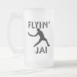 Flyin' Jai black silhouette Frosted Glass Beer Mug